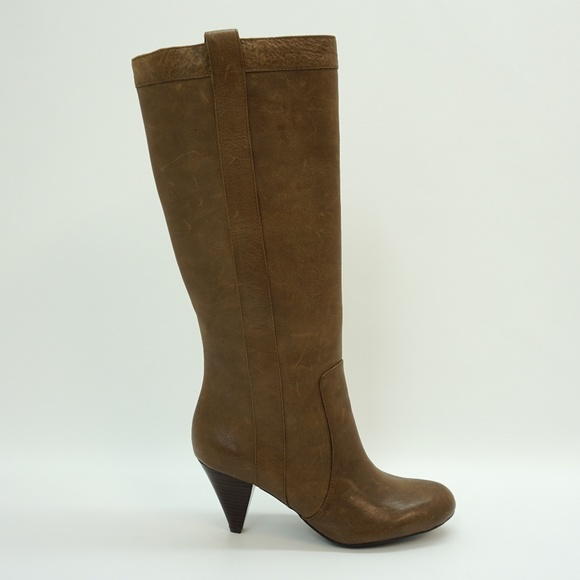 075f319d2f5 INC Pull On High Heel Tall Boots Brown Leather 6.5